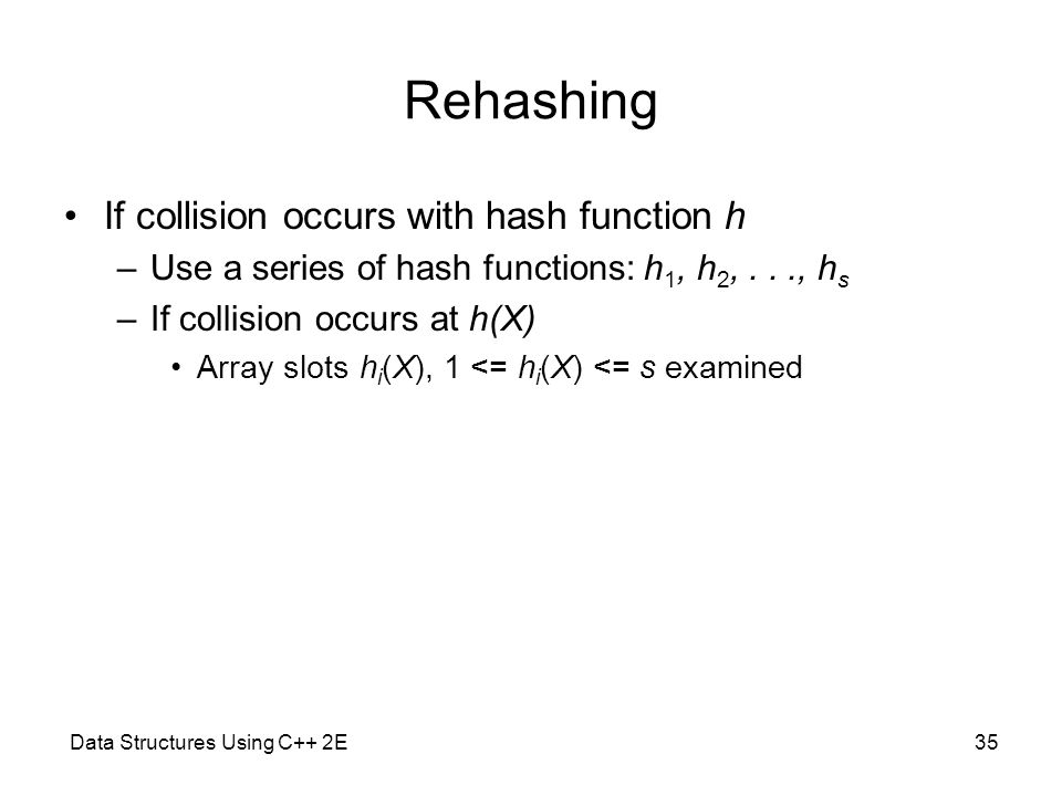 Data Structures Using C++ 2E35 Rehashing If collision occurs with hash function h –Use a series of hash functions: h 1, h 2,..., h s –If collision occ