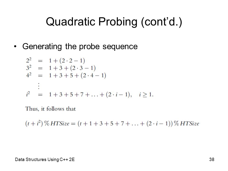 Data Structures Using C++ 2E38 Quadratic Probing (cont'd.) Generating the probe sequence