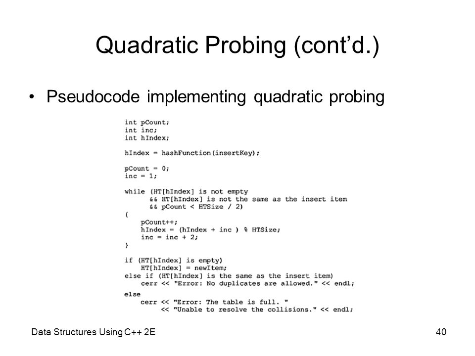 Data Structures Using C++ 2E40 Quadratic Probing (cont'd.) Pseudocode implementing quadratic probing