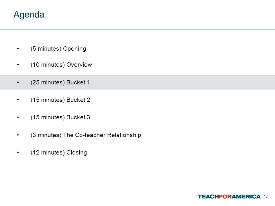 17 Agenda (5 minutes) Opening (10 minutes) Overview (25 minutes) Bucket 1 (15 minutes) Bucket 2 (15 minutes) Bucket 3 (3 minutes) The Co-teacher Relationship (12 minutes) Closing