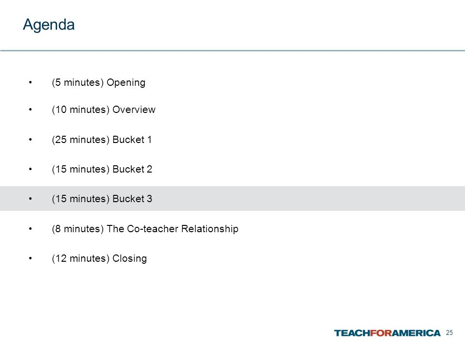 25 Agenda (5 minutes) Opening (10 minutes) Overview (25 minutes) Bucket 1 (15 minutes) Bucket 2 (15 minutes) Bucket 3 (8 minutes) The Co-teacher Relationship (12 minutes) Closing