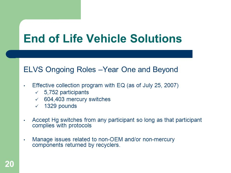 20 End of Life Vehicle Solutions ELVS Ongoing Roles –Year One and Beyond Effective collection program with EQ (as of July 25, 2007) 5,752 participants