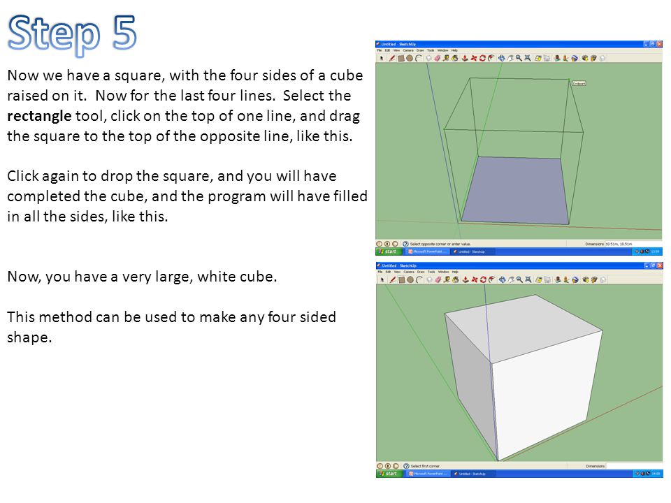 Now we have a square, with the four sides of a cube raised on it.