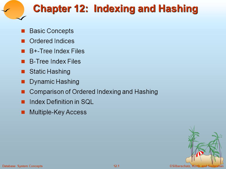 ©Silberschatz, Korth and Sudarshan12.1Database System Concepts Chapter 12: Indexing and Hashing Basic Concepts Ordered Indices B+-Tree Index Files B-Tree Index Files Static Hashing Dynamic Hashing Comparison of Ordered Indexing and Hashing Index Definition in SQL Multiple-Key Access