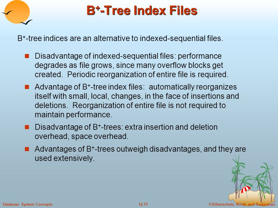 ©Silberschatz, Korth and Sudarshan12.15Database System Concepts B + -Tree Index Files Disadvantage of indexed-sequential files: performance degrades as file grows, since many overflow blocks get created.