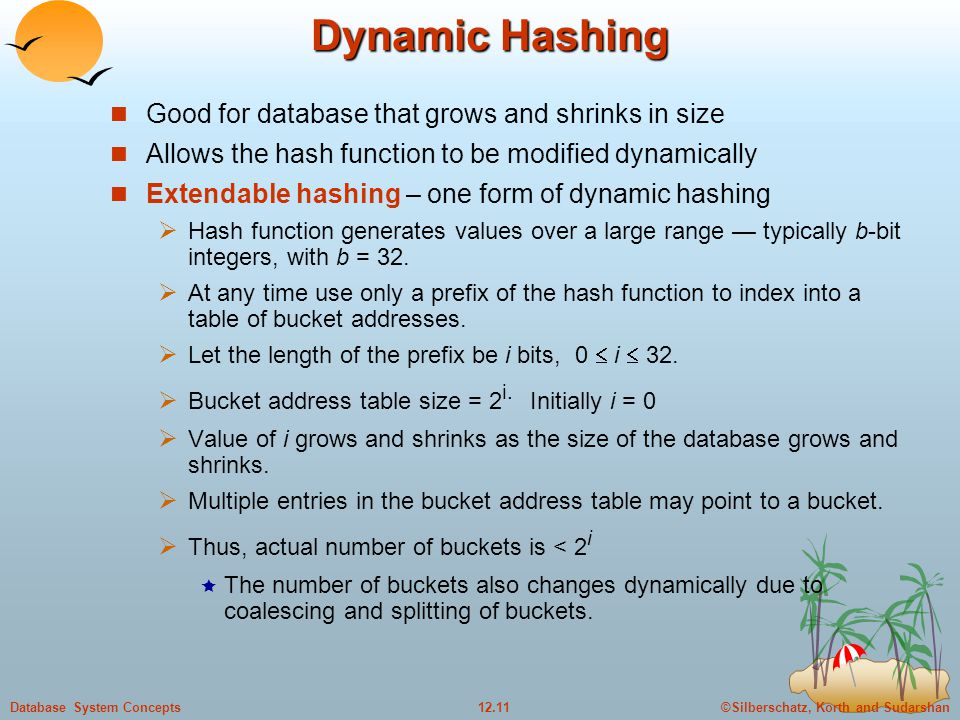 ©Silberschatz, Korth and Sudarshan12.11Database System Concepts Dynamic Hashing Good for database that grows and shrinks in size Allows the hash funct