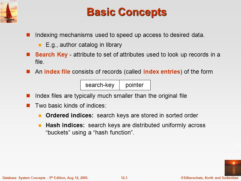 ©Silberschatz, Korth and Sudarshan12.3Database System Concepts - 5 th Edition, Aug 12, 2005.