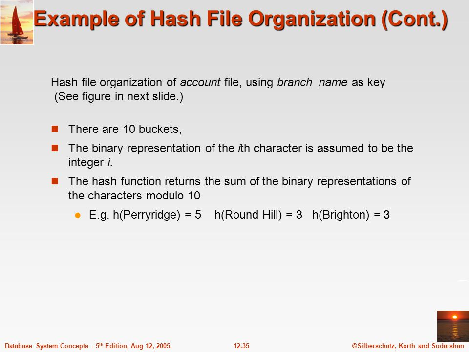 ©Silberschatz, Korth and Sudarshan12.35Database System Concepts - 5 th Edition, Aug 12, 2005. Example of Hash File Organization (Cont.) There are 10 b