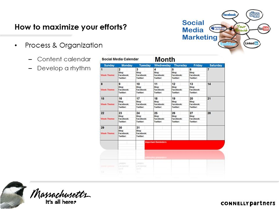 How to maximize your efforts Process & Organization – Content calendar – Develop a rhythm