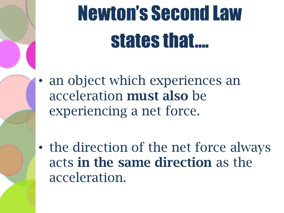 Newton's Second Law states that….