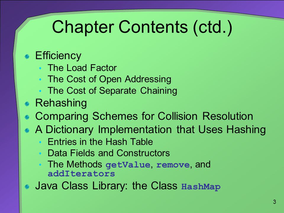 3 Chapter Contents (ctd.) Efficiency The Load Factor The Cost of Open Addressing The Cost of Separate Chaining Rehashing Comparing Schemes for Collisi