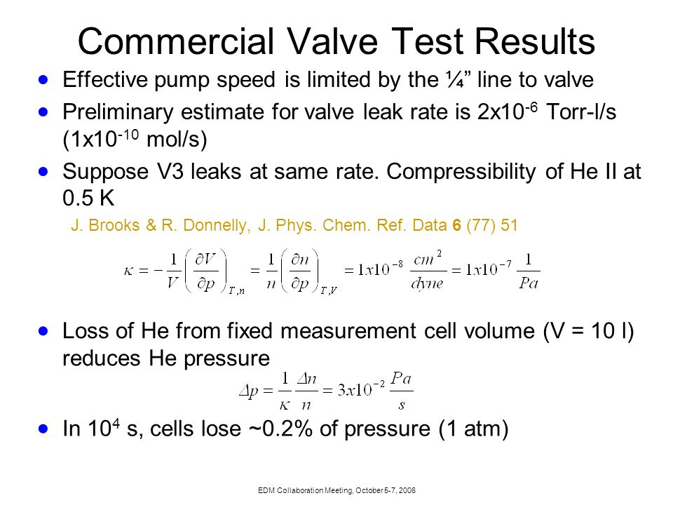 EDM Collaboration Meeting, October 5-7, 2006 Costs: Complete Valve Test  Much less certain (50% contingency)  Based on costs in CD1 – we will be building a real valve.