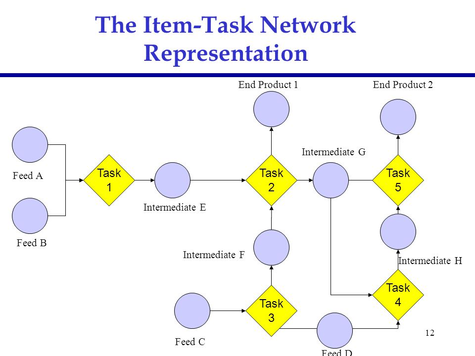 12 The Item-Task Network Representation Feed A Intermediate E Feed C Feed B Feed D End Product 1End Product 2 Intermediate F Intermediate G Intermedia