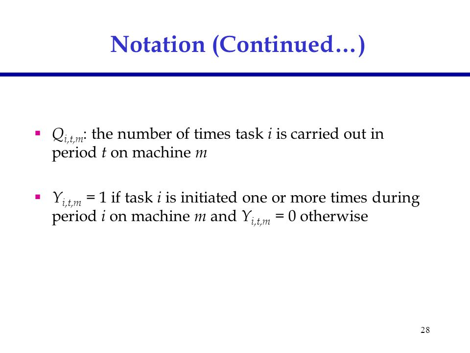 28 Notation (Continued…)  Q i,t,m : the number of times task i is carried out in period t on machine m  Y i,t,m = 1 if task i is initiated one or more times during period i on machine m and Y i,t,m = 0 otherwise
