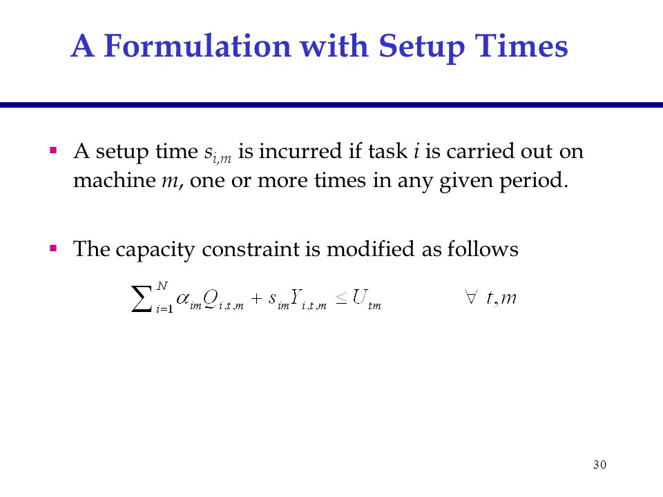 30 A Formulation with Setup Times  A setup time s i,m is incurred if task i is carried out on machine m, one or more times in any given period.  The