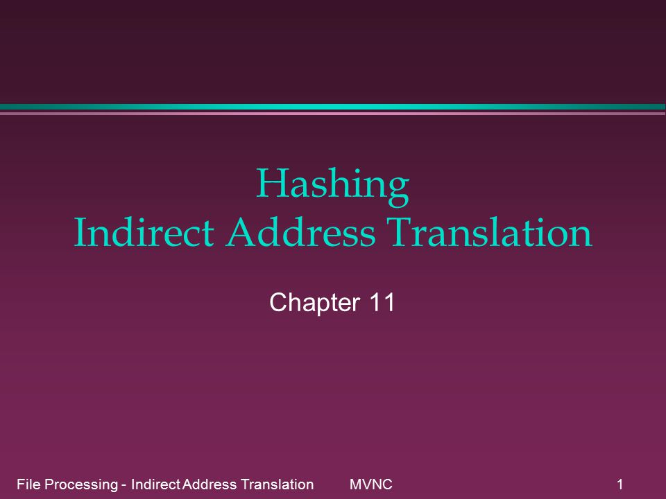 File Processing - Indirect Address Translation MVNC1 Hashing Indirect Address Translation Chapter 11