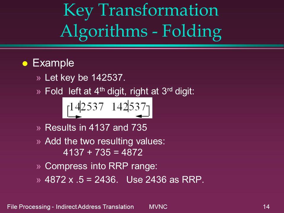 File Processing - Indirect Address Translation MVNC14 Key Transformation Algorithms - Folding l Example »Let key be 142537.