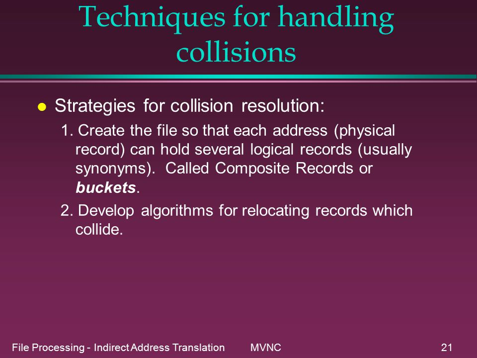 File Processing - Indirect Address Translation MVNC21 Techniques for handling collisions l Strategies for collision resolution: 1.
