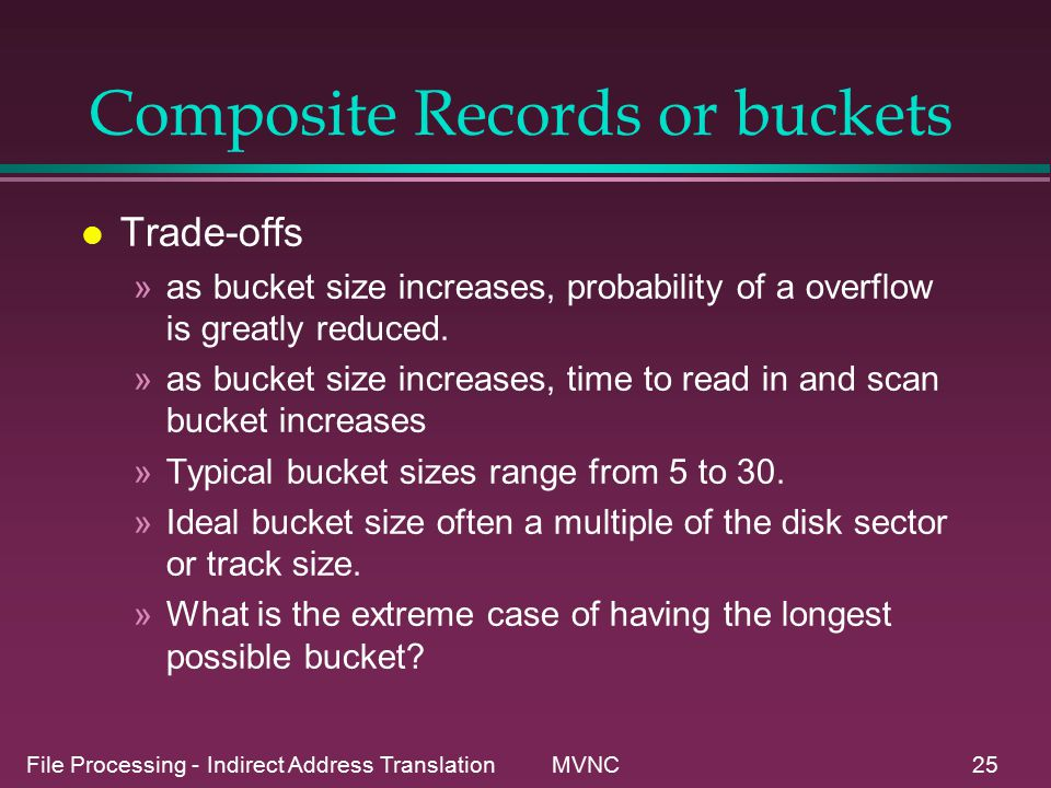 File Processing - Indirect Address Translation MVNC25 Composite Records or buckets l Trade-offs »as bucket size increases, probability of a overflow is greatly reduced.