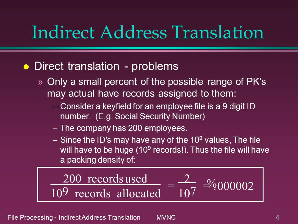File Processing - Indirect Address Translation MVNC35 Chained Progressive overflow l similar to progressive, but pointers link synonyms together for quicker searches.