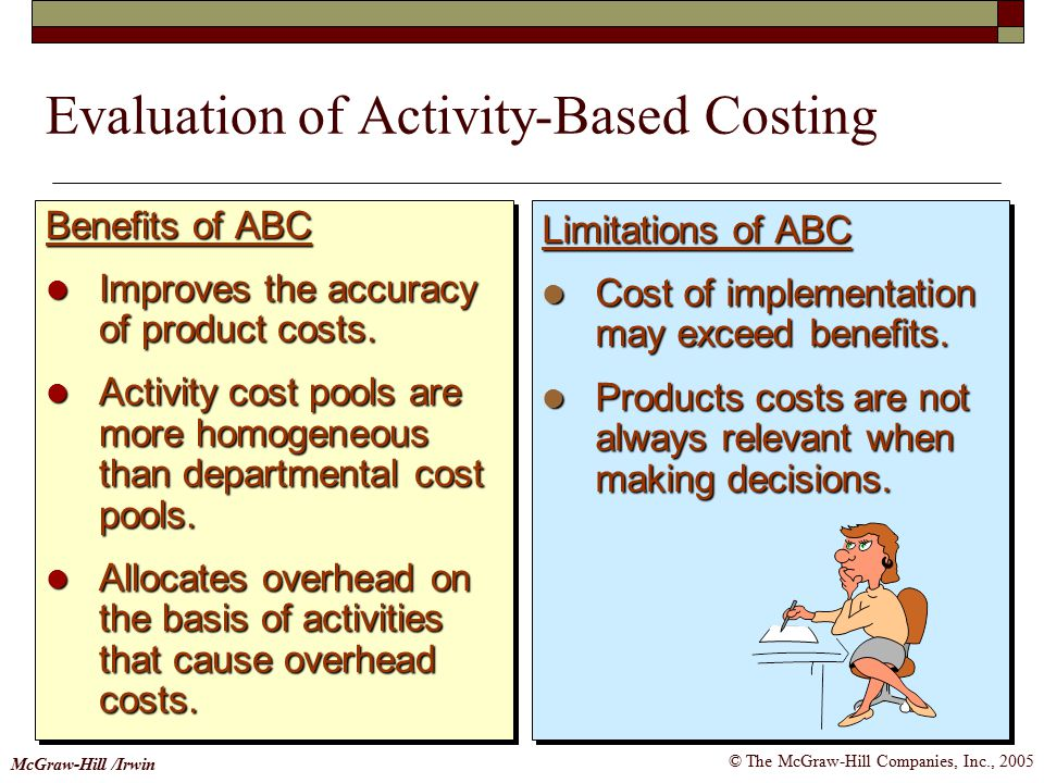 © The McGraw-Hill Companies, Inc., 2005 McGraw-Hill /Irwin Limitations of ABC Cost of implementation may exceed benefits.