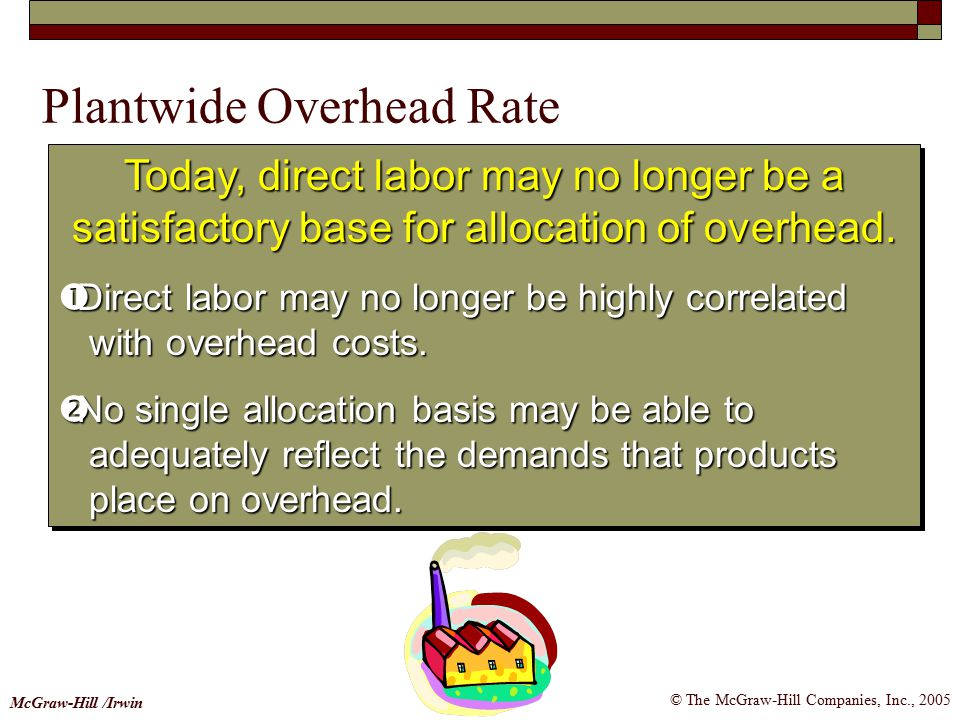 © The McGraw-Hill Companies, Inc., 2005 McGraw-Hill /Irwin Today, direct labor may no longer be a satisfactory base for allocation of overhead.