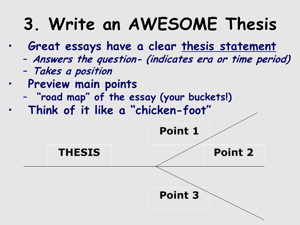 Using the Chicken Foot Thesis is the leg Each group (main point) will branch out with supporting ideas.