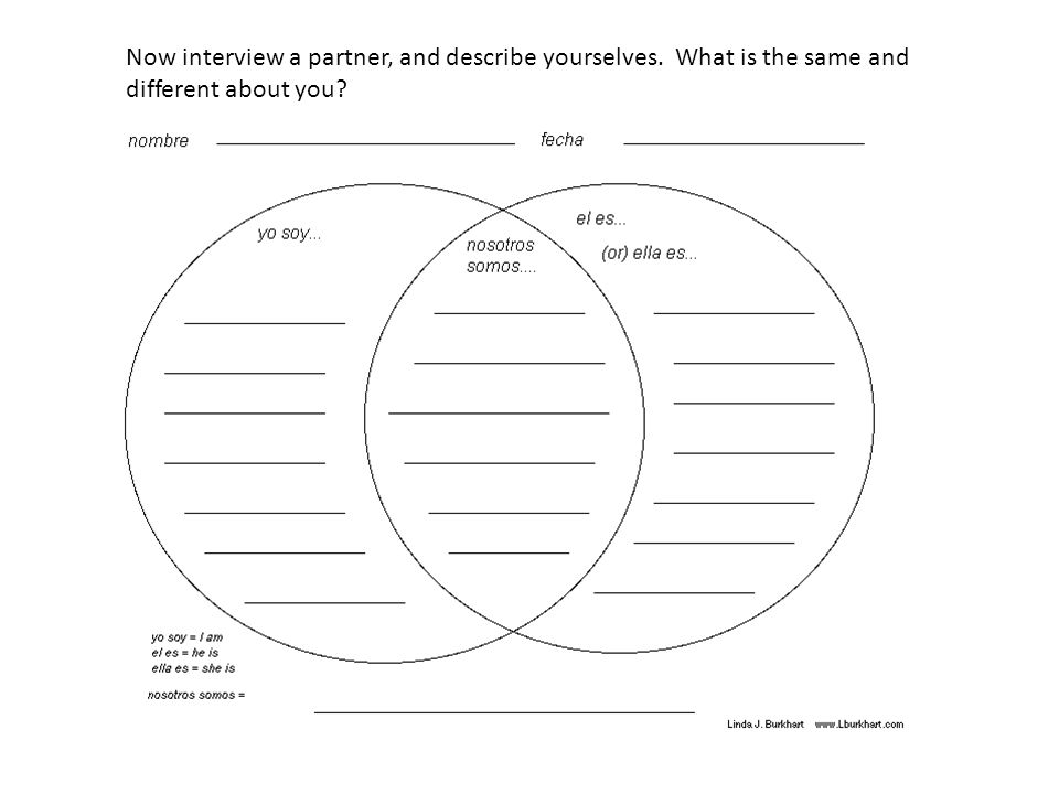 Now interview a partner, and describe yourselves. What is the same and different about you