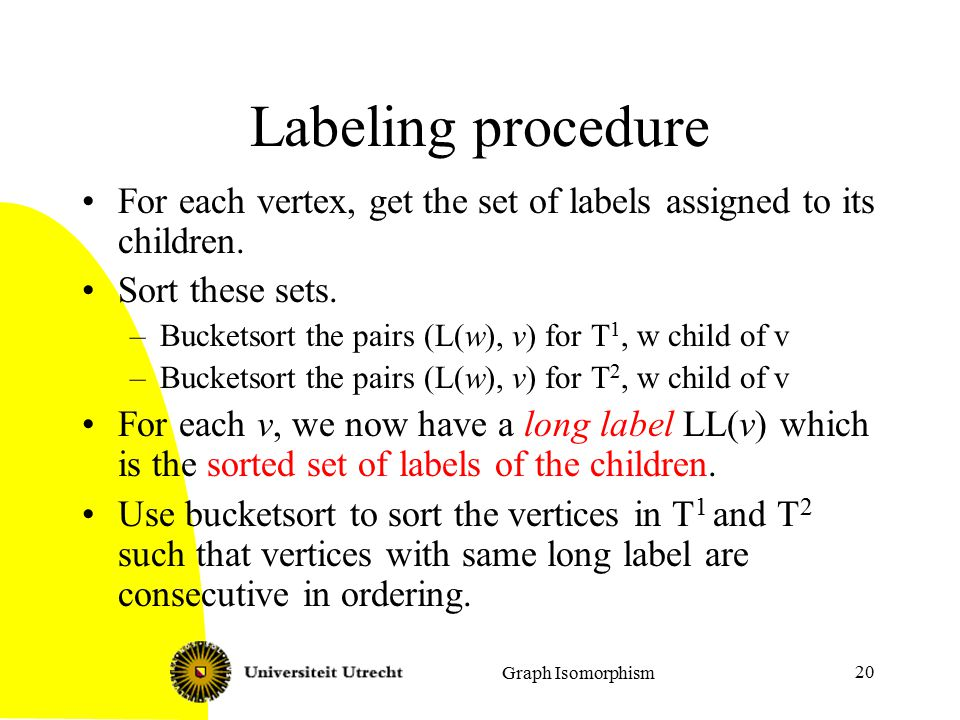 Graph Isomorphism 20 Labeling procedure For each vertex, get the set of labels assigned to its children.