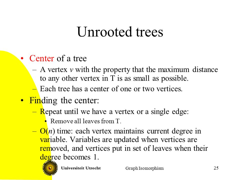 Graph Isomorphism 25 Unrooted trees Center of a tree –A vertex v with the property that the maximum distance to any other vertex in T is as small as possible.