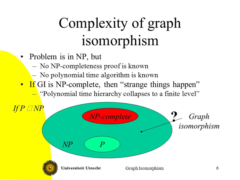 Graph Isomorphism 7 Isomorphism-complete Problems are isomorphism- complete, if they are `equally hard' as graph isomorphism –Isomorphism of bipartite graphs –Isomorphism of labeled graphs –Automorphism of graphs Given: a graph G=(V,E) Question: is there a non-trivial automorphism, i.e., a bijective function f: V  V, not the identity, with for all v,w  V: –{v,w}  E, if and only if {f(v),f(w)}  E.