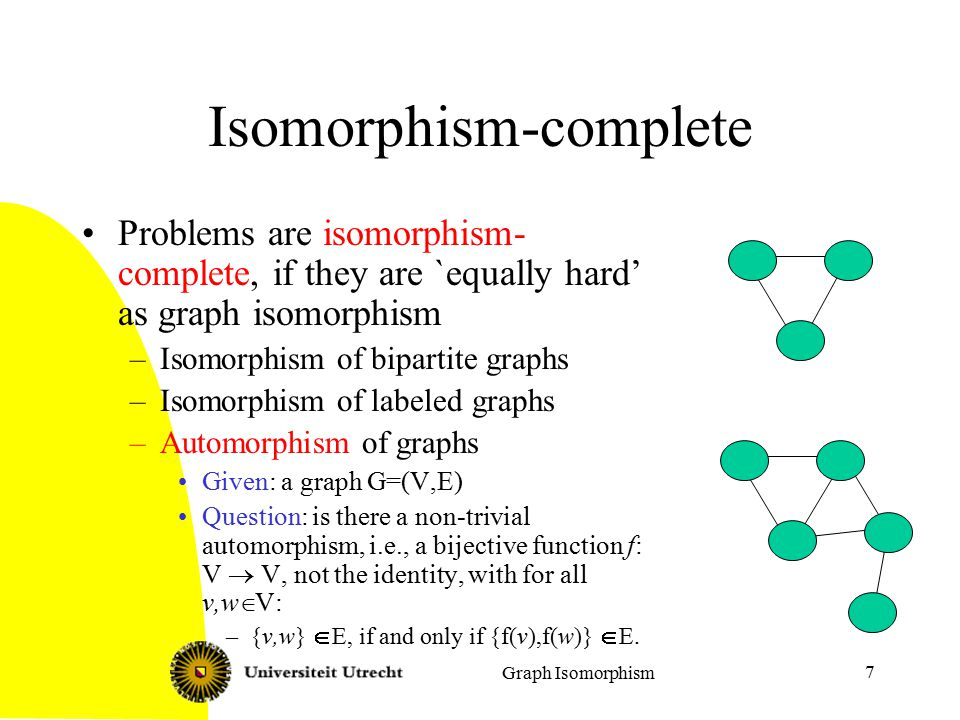 Graph Isomorphism 18 Rooted tree isomorphism For a vertex v in T, let T(v) be the subtree of T with v as root.
