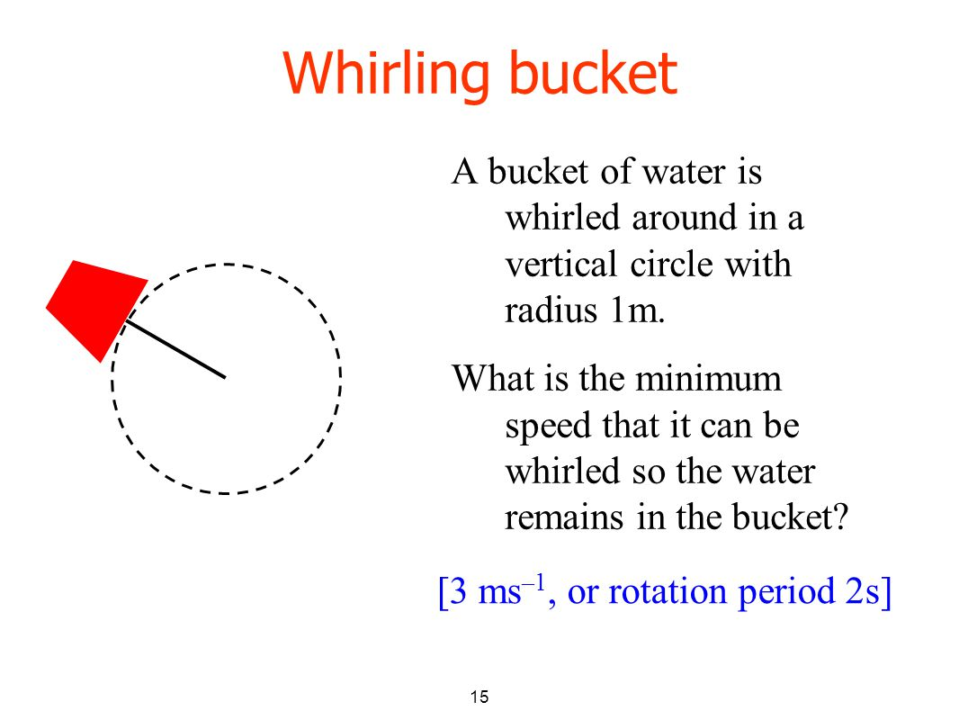 15 Whirling bucket A bucket of water is whirled around in a vertical circle with radius 1m.