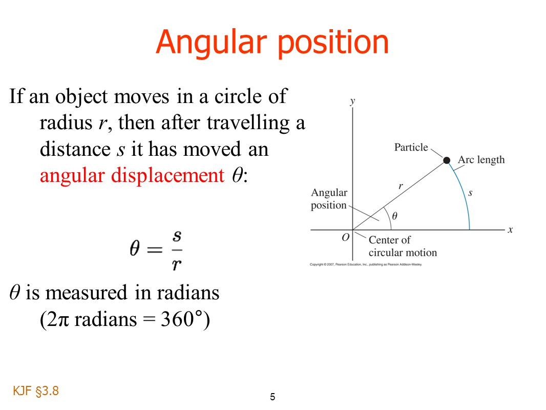 5 Angular position If an object moves in a circle of radius r, then after travelling a distance s it has moved an angular displacement θ: θ is measured in radians (2π radians = 360°) KJF §3.8
