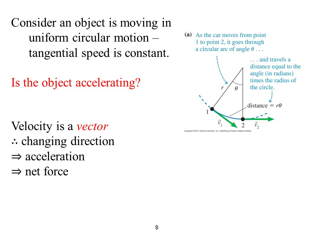 9 Consider an object is moving in uniform circular motion – tangential speed is constant.