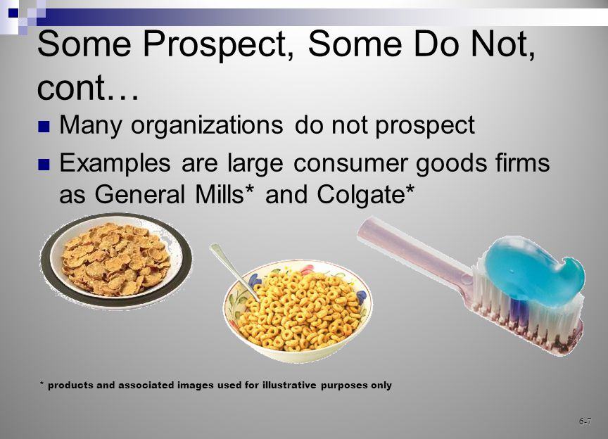 Prospecting Methods E-prospecting on the Web  Individuals  Organizations Cold canvassing Endless chain – customer referral Orphaned customers Sales lead clubs 6-18