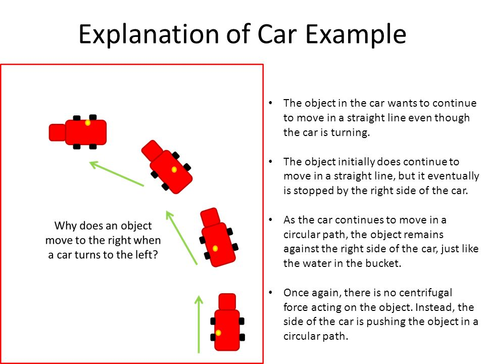 Explanation of Spinning Ride Example Like the other two examples, the object, in this case a person, wants to continue moving in a straight line due to inertia.