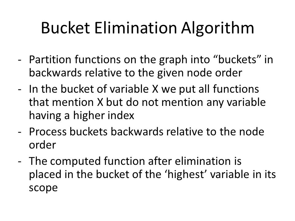 "Bucket Elimination Algorithm -Partition functions on the graph into ""buckets"" in backwards relative to the given node order -In the bucket of variable"