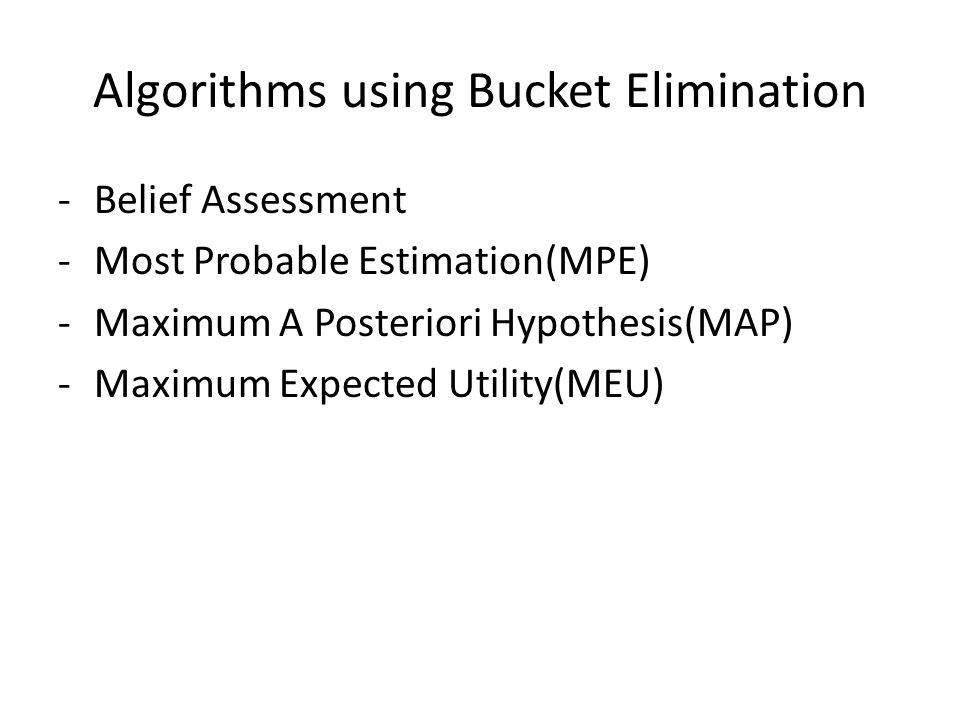 Algorithms using Bucket Elimination -Belief Assessment -Most Probable Estimation(MPE) -Maximum A Posteriori Hypothesis(MAP) -Maximum Expected Utility(