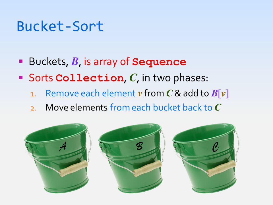Bucket-Sort  Buckets, B, is array of Sequence  Sorts Collection, C, in two phases: 1. Remove each element v from C & add to B[v] 2. Move elements fr