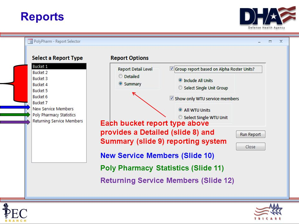 Reports Each bucket report type above provides a Detailed (slide 8) and Summary (slide 9) reporting system New Service Members (Slide 10) Poly Pharmacy Statistics (Slide 11) Returning Service Members (Slide 12)