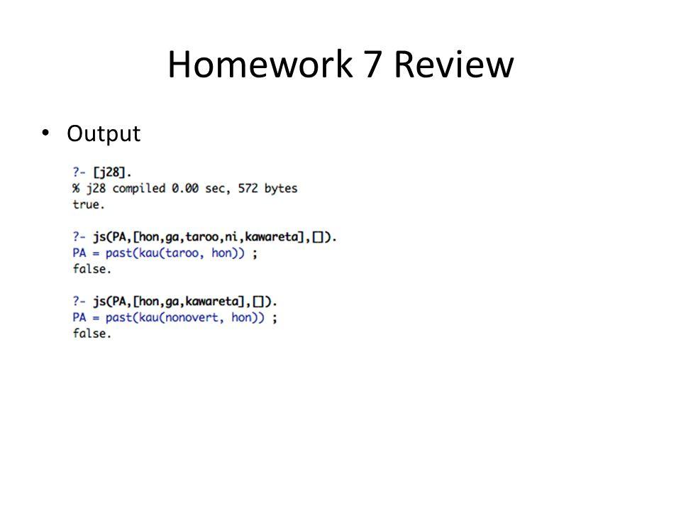 Homework 7 Review Output
