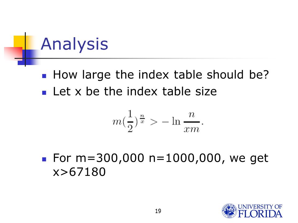 Results for Random Prefixes Put 1,000,000 Prefixes to 300,000 buckets: Hash SchemeBucket SizePrefixes fetched per lookup Prefect44 Single Hash15 2-hash612 3-hash515 10-hash440 DM-Hash (x=30K)66 DM-Hash (x=60K)55 DM-Hash (x=120K)44 18