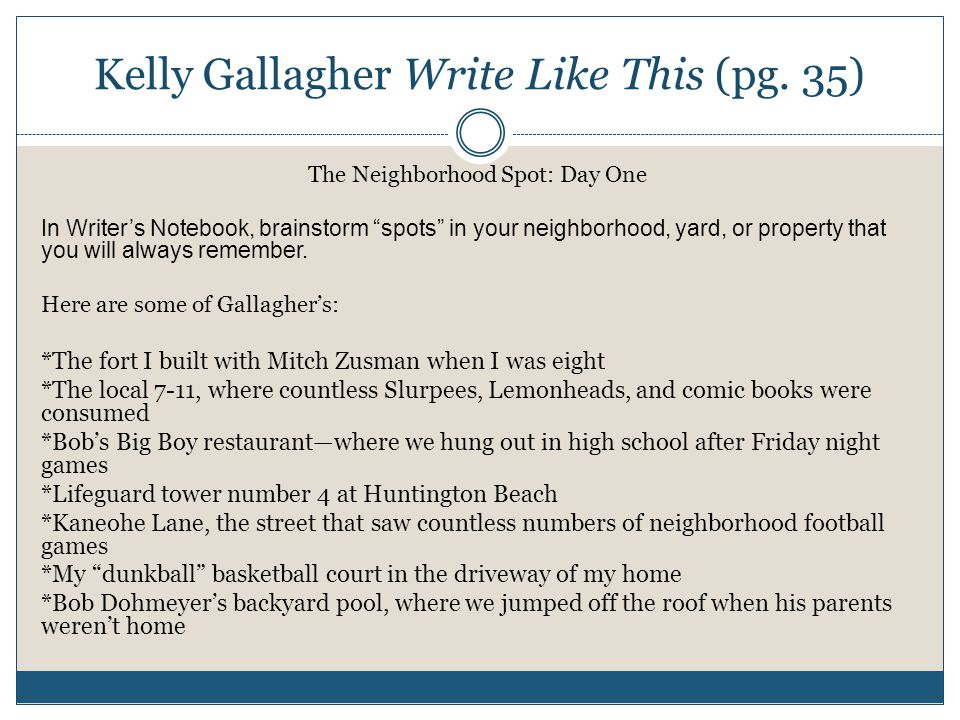 Kelly Gallagher Write Like This (pg.