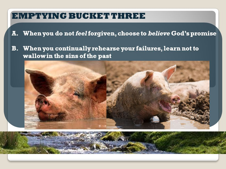 EMPTYING BUCKET THREE A.When you do not feel forgiven, choose to believe God's promise B.When you continually rehearse your failures, learn not to wallow in the sins of the past