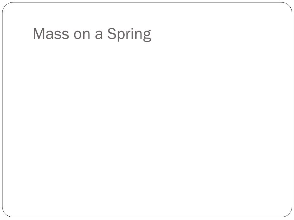 Mass on a Spring