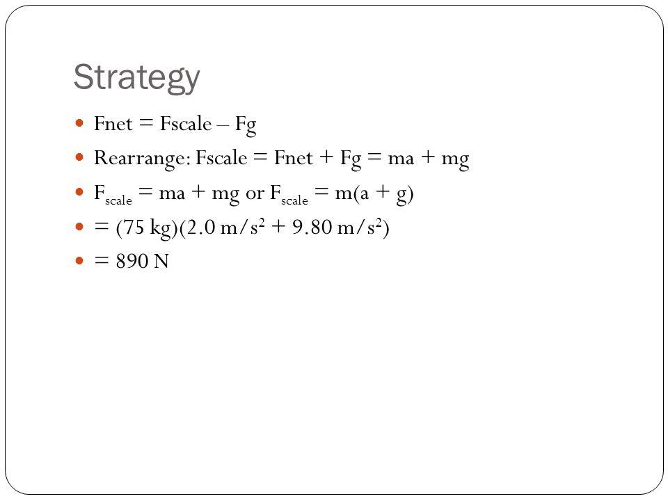 Strategy Fnet = Fscale – Fg Rearrange: Fscale = Fnet + Fg = ma + mg F scale = ma + mg or F scale = m(a + g) = (75 kg)(2.0 m/s 2 + 9.80 m/s 2 ) = 890 N