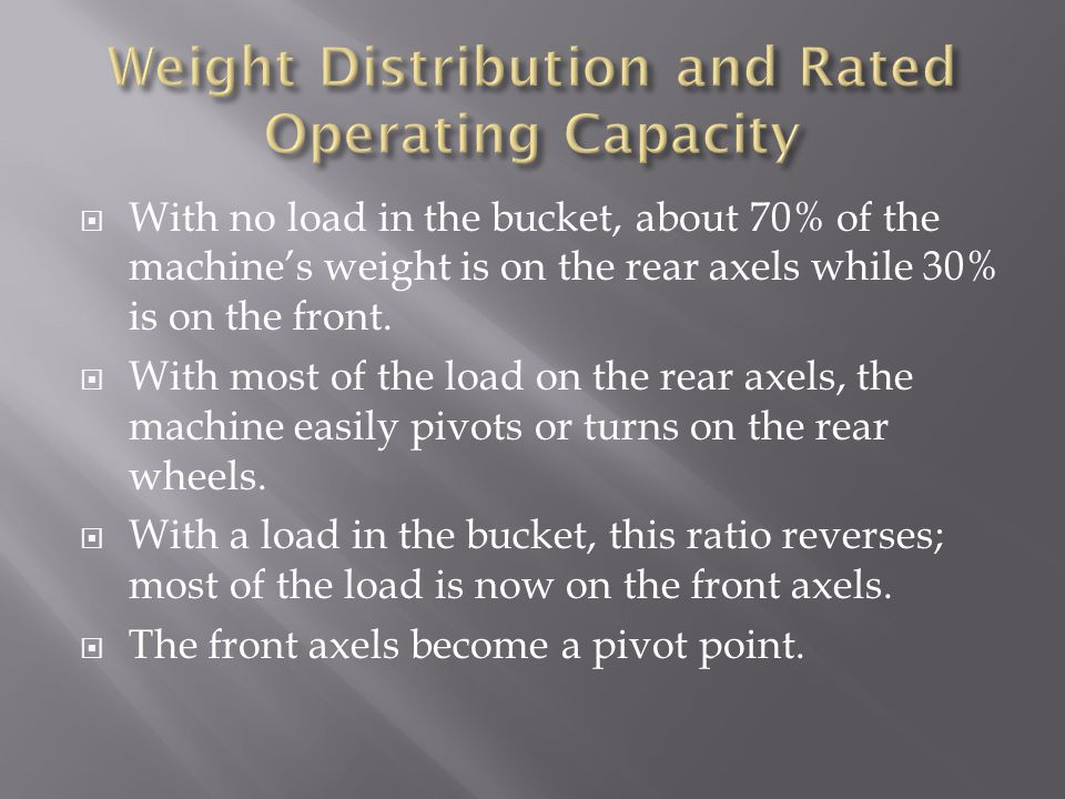 The rated operating capacity is no more than 50% of the tipping load should be declared as the rated operating capacity.