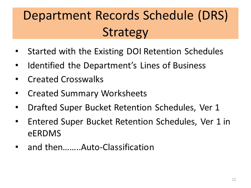 Department Records Schedule (DRS) Strategy Started with the Existing DOI Retention Schedules Identified the Department's Lines of Business Created Cro