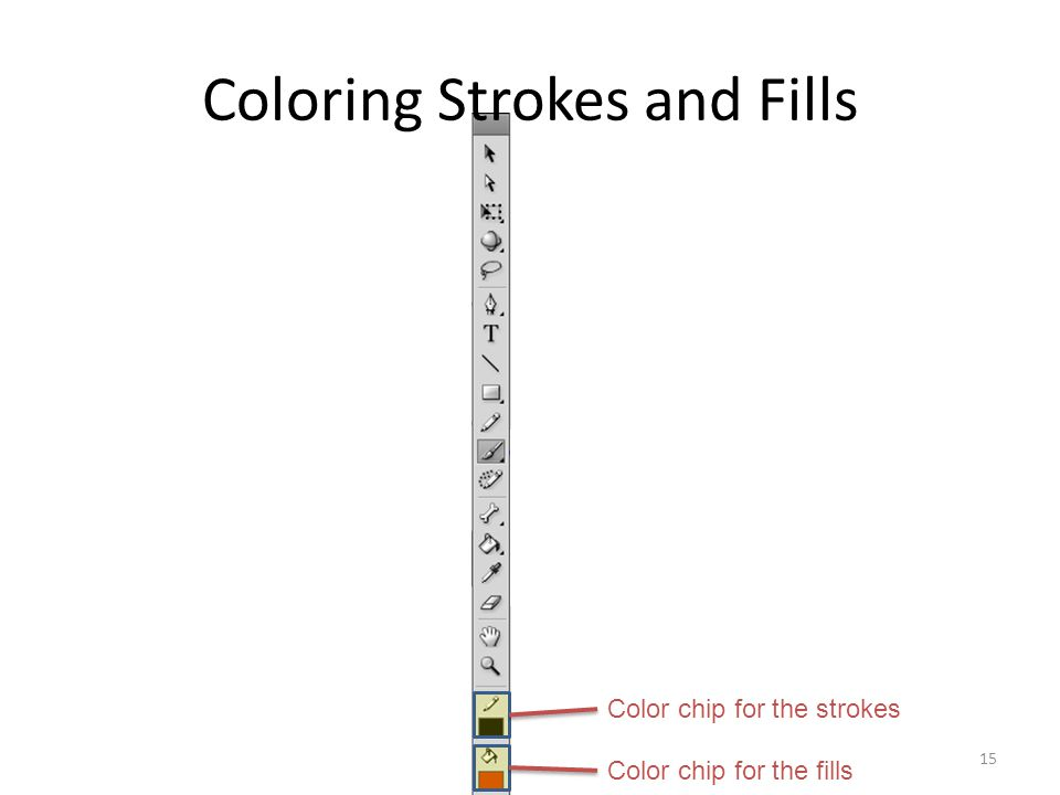 Coloring Strokes and Fills 15 Color chip for the strokes Color chip for the fills